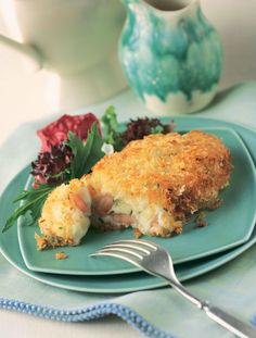 Shrimp Stuffed Idaho® Potato Patties. Use instant mashed potatoes for the patties, stuff with cooked shrimp and cubed Swiss cheese, coat with panko and pan fry. #mothersday