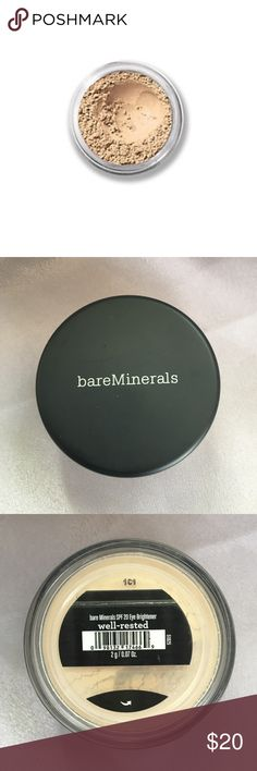 NEW Bare Escentuals Well Rested under eye powder A favorite among the sleep deprived!! This innovative under eye brightener instantly erases signs of fatigue as it helps reduce the appearance of puffiness and dark circles for a wide-awake look. The lightweight loose powder concealer buffs around the eyes to visibly shrink dark circles while the SPF 20 offers added protection around the delicate eye area. Unopened, brand new. Bare Escentuals Makeup Concealer