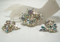 Sherman sparkling 4 flower ab brooch and earrings by glitzythings, $250.00