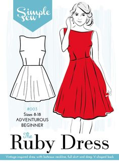 The Ruby Dress sewing pattern by designer Simple Sew. Dress Making Patterns, Easy Sewing Patterns, Clothing Patterns, Sewing Tutorials, Skirt Patterns, Dress Tutorials, Coat Patterns, Blouse Patterns, Sewing Projects