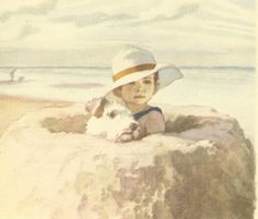 Vintage 1943 J H Dowd Double Sided Children's Print Young Boy Fox Terrier In Sandcastle On The Beach Sketch Book Illustration Book Plate