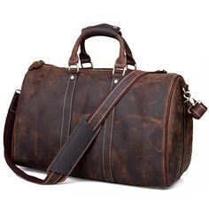 Vintage Handmade Antique Crazy Horse Leather Travel Bag / Luggage / Duffle Bag(z11) / Elite Leather Bags
