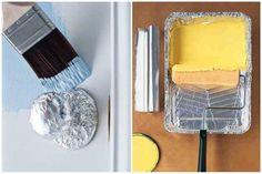 Fora da cozinha o papel alumínio também pode ser um ótimo aliado. Separamos algumas ideias de usos que vão além das assadeiras e podem fazer muita diferença em imprevistos. | 4. Fazer menos bagunça. Quando for pintar portas e paredes, proteja as maçanetas e os objetos eletrônicos de respingos cobrindo com folhas de papel alumínio.