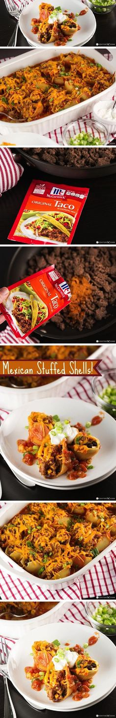 Traditional STUFFED SHELLS meets the taco and the result is MEXICAN Stuffed Shells filled with everything you love about tacos! They are creamy with cream cheese and cheddar cheese, and they can be made with chicken or ground beef. Mexican Stuffed Shells are hearty, comforting, delicious, and a family favorite!