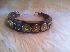 12 Gauge Shotgun Shell leather dog collar MADE by TheStripedPony, $68.00