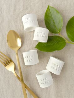 DIY Stamped Clay Napkin Rings for Thanksgiving