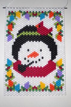 Items similar to Handmade Hand Beaded Christmas Snowman Beaded Banner with Nylon Cord Hanger on Etsy Christmas Perler Beads, Beaded Christmas Ornaments, Christmas Snowman, Pony Bead Patterns, Peyote Patterns, Beading Patterns, Pony Bead Crafts, Beaded Crafts, Beaded Banners