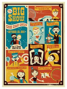 A circus-themed poster for a bridal party done in modern style