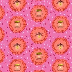 Fabric... Wee Wander Glow Friends in Pink by Sarah Jane