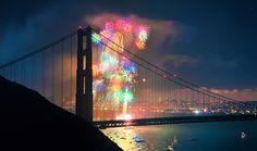 fireworks, gold gate bridge