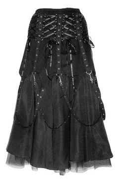 Long Black Gothic Punk Buckle Skirt - Dark Star