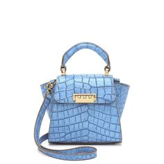 Zac Zac Posen Painted Croc Eartha Bag - Cobalt (17.405 RUB) found on Polyvore featuring bags, handbags, shoulder bags, blue leather purse, leather flap handbag, leather handbags, genuine leather purse and genuine leather handbags