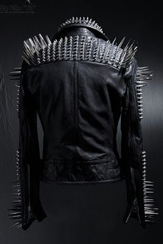 c8940ed8ae7 Mens-Punk-Style-Full-Black-Biker-Long-Spikes-Studded-Leather-Jacket-All- Sizes