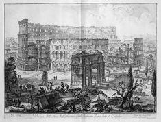 Vedute di Roma, Arco di Costantino e Colosseo, 1760, incisione