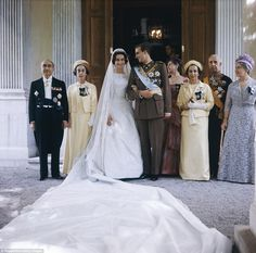 Intricate: Princess Sofia of Greece and Denmark wore a Jean Dessès gown that had been embroidered by hand by Greek seamstresses for her 1962 wedding to the future Juan-Carlos I of Spain. The couple married in a lavish ceremony in Athens attended by royals from all over Europe
