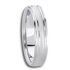 Womens Wedding Band with Refined Polished and Cross Satin Finished Pattern - $362.72 - Available in All White, Yellow, or Two-Tone 14K or 18K Gold - Free Shipping, 30 Day Return Policy, Made in the USA