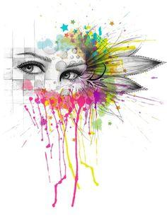 Beautiful Flower Eyes | Olechka  #illustration #mixed_media