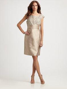 Kay Unger - Lace-Trimmed Dress - Saks.com