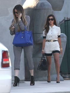 Khloe Kardashian and her sister Kourtney Kardashian in Romper