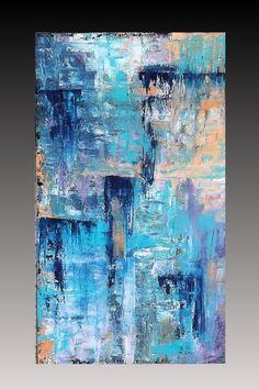 Original Abstract Art Acrylic Painting Modern Palette Knife Fine Art 28x48 Canvas Painting Artist Jill Iannamico
