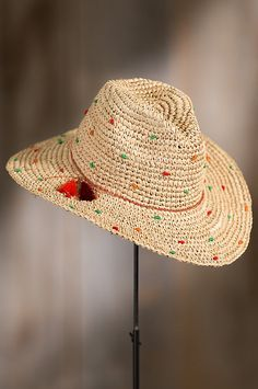 "Made of 100% Raffia, our bold Dubrovnik Crocheted Hat flaunts a 3 3/4"" brim that fashions your look while shading you from the sun."