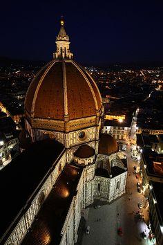 Florence Duomo at night, Italy.