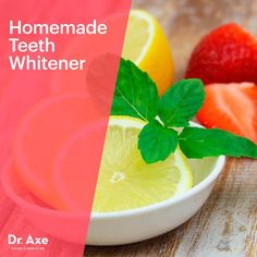 Natural Teeth Whitening A Fruit-Based Homemade Teeth Whitener that Works - from Dr. Teeth Whitening Methods, Activated Charcoal Teeth Whitening, Home Teeth Whitening Kit, Whitening Skin Care, Natural Teeth Whitening, Natural Toothpaste, Teeth Bleaching, Dr Axe, Healthy Teeth