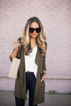 Love how casual this jacket feels Olive Drape Front Jacket | The Teacher Diva