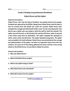 Robert Bruce and Spider Third Grade Reading Worksheets 3rd Grade Reading Comprehension Worksheets, Reading Comprehension Passages, Reading Worksheets, Reading Fluency, Reading Strategies, Picture Comprehension, Third Grade Reading, Beginning Reading, Kids Reading
