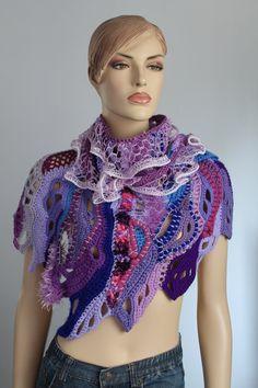 Pink Purple Lilac Blue  Chunky Freeform Crochet  Scarf Shawl Capelet / Textured shawl / Wearable Art / OOAK /  Bohemian Scarf