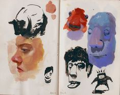Painted Kelly Mcswain and some people from my head, gouache or acrylic or ink
