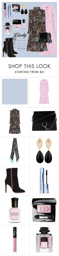"""Valentino's Fall Flowers"" by roobunn ❤ liked on Polyvore featuring Valentino, Chloé, Aquazzura, Estée Lauder, Deborah Lippmann, Christian Dior, NARS Cosmetics, Gucci, Givenchy and valentino"
