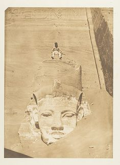 Westernmost Colossus of the Temple of Re, Abu Simbel - Maxime Du Camp (French, 1822–1894), 1850. An informational read...