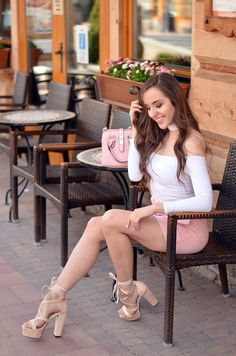 www.streetstylecity.blogspot.com  Fashion inspired by the people in the street ootd look outfit sexy high heels legs woman girl spring skirt miniskirt pink