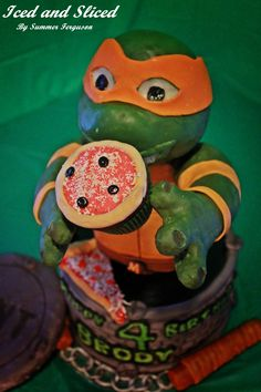TMNT cake Character Cakes, Boy Character, 4th Birthday, Birthday Cake, Tmnt Cake, Turtle Cakes, Cakes For Boys, Ninja Turtles, Yoshi