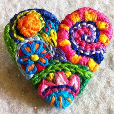 Small Freeform embroidery heart brooch by Lucismiles on Etsy