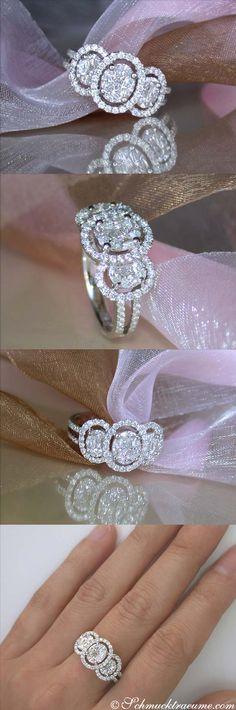 Pretty Diamond Ring, 1,14 ct. G-SI/VS, WG18K - Visit: schmucktraeume.com - Mail: info@schmucktraeume.com