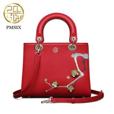69.42$  Buy here - http://alivk0.shopchina.info/go.php?t=32809183720 - Pmsix 2017 Chinese style new red MIni leather message bags ladies fashion dinner shoulder diagonal embroidery bag P120074 69.42$ #magazineonlinebeautiful