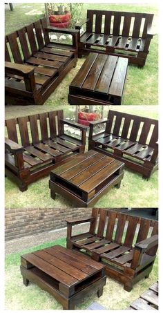 Diy Projects Outdoor Furniture, Pallet Garden Furniture, Wooden Pallet Projects, Pallet Ideas, Diy Furniture, Garden Pallet, Furniture Repair, Pallet Wood, Rustic Furniture