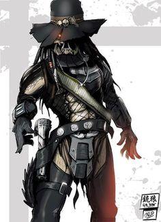 Predator by Jin Jin aka Jinbei Alien Vs Predator, Predator Costume, Predator Alien, Alien Creatures, Fantasy Creatures, Space Warriors, Aliens Movie, Horror Monsters, Alien Art