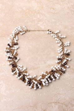 Chocolate Crystal Pearl Necklace