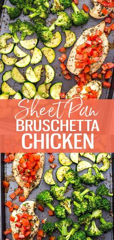 This Sheet Pan Bruschetta Chicken with broccoli is a healthy one pan dinner idea and one of my favourite healthy summer meals. It's also a delicious way to enjoy your favourite appetizer as a high-protein meal! #bruschettachicken #sheetpan #lowcarb