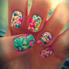 Splatter nails- with neon nail polish Love Nails, How To Do Nails, Fun Nails, Pretty Nails, Short Nail Designs, Simple Nail Designs, Nail Art Designs, Nails Design, Nail Designs For Kids