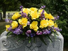 Headstone Memorial Tombstone Cemetery Silk Flower Saddle / Wreath/ Yellow/Purple