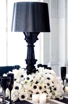 B&W.quenalbertini: Black lamp and white flowers