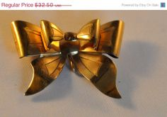 On Sale Vintage Gold Filled Art Deco Bow by etherealemporium, $27.63