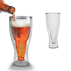 250ml HOT Creative Upside Down Bottom-up Double Wall Beer Drinking ...