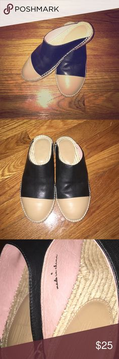 BRAND NEW leather espadrilles slip-ons Brand new leather espadrilles slip-on flats, black leather, nude cap toe, muted baby pink color on the inside. Urban Outfitters Shoes Espadrilles