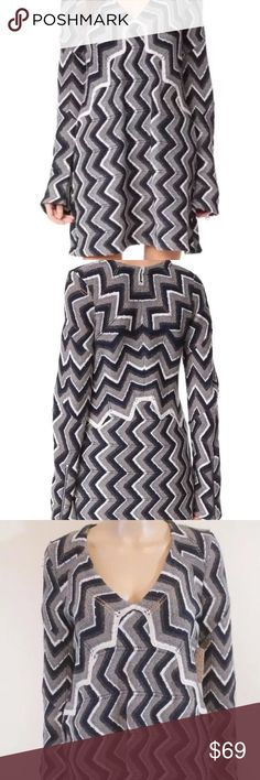 NEW Free People wool long sleeve zig zag dress NEW with tags. Great sweater dress from Free People Free People Dresses Long Sleeve