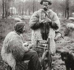 shepherds spinning wool … landes, france … circa1900-1920 …